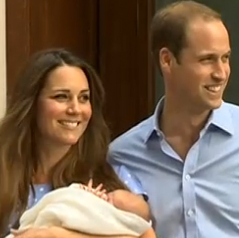 Prince William Drives Kate Home from St Mary's, Baby Has a Lot of Hair